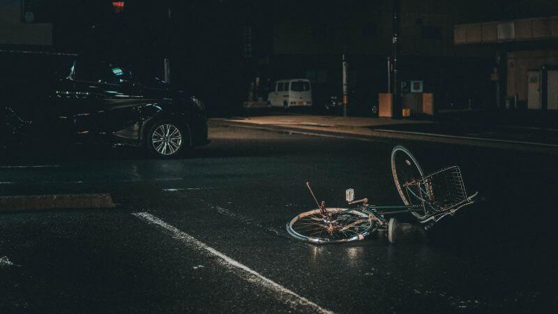 事故にあった自転車の写真